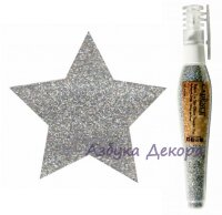 Глиттер-пудра в ручке-флаконе Cadence Glitter Powder Pen цвет Серебряный, 10 гр